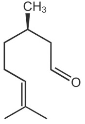 Chemical structure of CITRONELLAL. Picture taken from www3.hhu.de