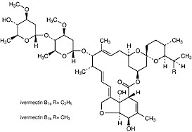 Molecular structure of ivermectin. Illustration taken from www.medicinescomplete.com