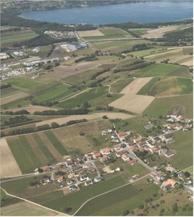 Aerial view of the scenery around St-Aubin